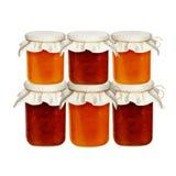 Frascos do doce isolados em um fundo branco dos frutos e das bagas Abricós das morangos, pêssegos Foto de Stock