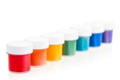 7 frascos do guache em seguido Foto de Stock