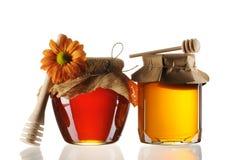 Frascos do mel e do dipper Foto de Stock Royalty Free