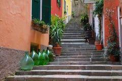 Frascos do vinho e etapas, Cinque Terre, Itália Fotografia de Stock