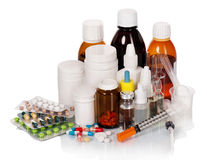 Frascos e tabuletas médicos Fotografia de Stock Royalty Free