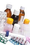 Frascos e tabuletas medicinais Fotografia de Stock Royalty Free