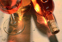 Frascos e vidro de vinho Foto de Stock Royalty Free