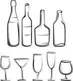 Frascos e vidros ajustados Foto de Stock Royalty Free