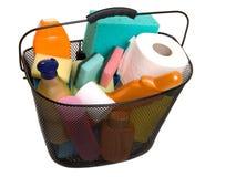 Frascos plásticos cheios da cesta fotografia de stock