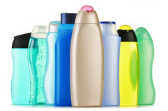 Frascos plásticos de produtos do cuidado e de beleza do corpo Fotografia de Stock