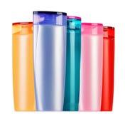 Frascos plásticos de produtos do cuidado e de beleza do corpo Fotografia de Stock Royalty Free