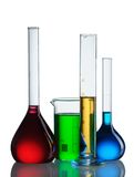 Frascos químicos Foto de archivo