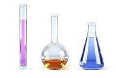 Frascos químicos con los reactivo Foto de archivo