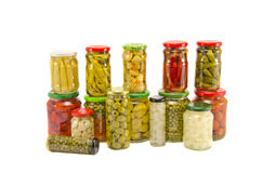 Frascos vegetais em pasta da coleção vários isolados no branco imagens de stock