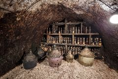 Frascos velhos do vinho Fotografia de Stock