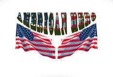 Frase americana del héroe con dos banderas de los E.E.U.U. fotos de archivo libres de regalías