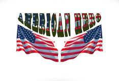 Frase americana dell'eroe con due bandiere degli S.U.A. fotografie stock libere da diritti