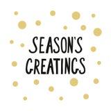 A frase caligráfica tempera cumprimentos com os pontos dourados para o cartão Imagens de Stock Royalty Free
