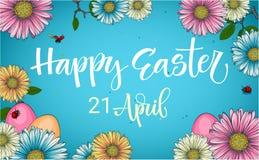 Frase colorida da caligrafia da caça do ovo da páscoa com a decoração floral e dos ovos ilustração do vetor