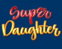 Frase colorida de la caligrafía de la hija estupenda en fondo oscuro stock de ilustración