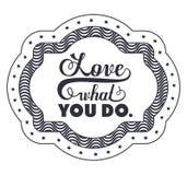 Frase da atitude sobre o amor dentro do projeto do quadro Fotografia de Stock