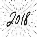 Frase da caligrafia do ano 2018 novo Número preto no fundo branco do grunge do vintage Imagens de Stock Royalty Free