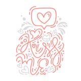 A frase da caligrafia do monoline do vetor beija-me com logotipo do Valentim Rotulação tirada mão do dia de Valentim Feriado do c ilustração do vetor