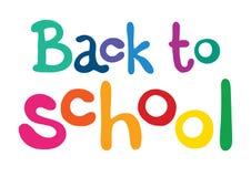 Frase da cor de volta à escola no fundo branco lettering Luz do vetor art Imagens de Stock Royalty Free