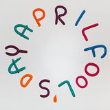 Frase de April Fools Day feita de letras coloridas do plasticine no fundo Imagem de Stock
