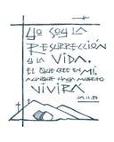 Frase de Bliblic: Soy la resurrección stock de ilustración