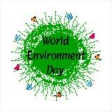 Frase de las letras de día del ambiente mundial en fondo de la tierra con las mariposas ilustración del vector
