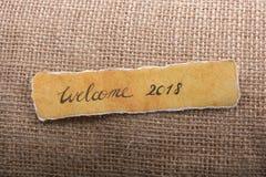 Frase de las letras del saludo del Año Nuevo de la recepción 2018 Foto de archivo