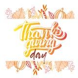 Frase de las letras del saludo del día de la acción de gracias del vector Acción de gracias feliz con el marco redondo de las hoj stock de ilustración