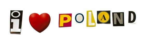 Frase del ` de Polonia del amor del ` I en el fondo blanco Fotografía de archivo libre de regalías