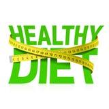 Frase di dieta sana con nastro adesivo di misurazione Immagini Stock Libere da Diritti