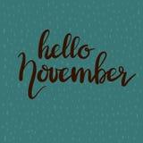 Frase dibujada mano hola noviembre de las letras de la tipografía Fotos de archivo libres de regalías