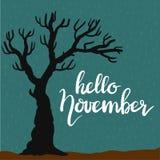 Frase dibujada mano hola noviembre de las letras de la tipografía Imagen de archivo