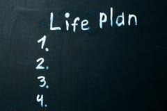 Frase do PLANO da VIDA escrita no giz no quadro-negro Fotos de Stock