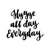 Frase escandinava: Hygge todo el día diario; significa un acogedor, cosiness, caliente stock de ilustración