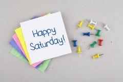 Frase feliz da nota do fim de semana do bom dia de sábado imagens de stock royalty free