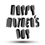 Frase feliz del saludo del día de Mother's hecha con la GE retra del estilo 3d Imágenes de archivo libres de regalías