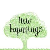 Frase scritta a mano - nuovo inizio Progettazione di iscrizione disegnata a mano Immagini Stock