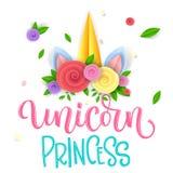 Frase variopinta isolata disegnata a mano di calligrafia di Unicorn Princess con il corno tagliato di carta dell'unicorno con i f royalty illustrazione gratis