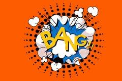 Fraseio do golpe na bolha cômica do discurso no estilo do pop art Ilustração imagens de stock