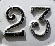Fraseio escrito no estado afligido número encontrado tipografia 23 vinte e três Imagem de Stock