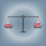 Fraseología de la balanza de la vida del trabajo en el concepto de la escala del peso, ejemplo del vector en fondo plano del dise Fotografía de archivo