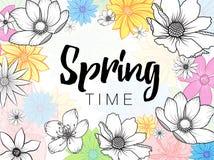 Fraseología del tiempo de primavera con las flores coloridas dibujadas mano en el fondo blanco stock de ilustración