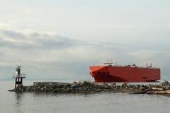 Fraser河货轮定位 库存照片
