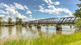 Fraser Bridge storico in Quesnel, BC, il Canada immagini stock libere da diritti