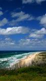 Fraser Island Beach Australia. Paradise blue sky clouds green white sand Australia tourist tourism Queensland nature wildlife wild wilderness Royalty Free Stock Photography