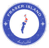 Fraser Island circular patriotic badge. Grunge rubber stamp with island flag, map and name written along circle border, vector illustration royalty free illustration