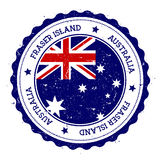 Fraser Island flag badge. Vintage travel stamp with circular text, stars and island flag inside it. Vector illustration stock illustration