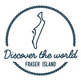 Fraser Island Map Outline L'annata scopre Immagini Stock
