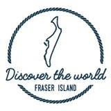 Fraser Island Map Outline Le vintage découvrent illustration stock